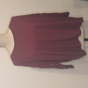 AMERICAN EAGLE Lace Arms Draped Open Back Top